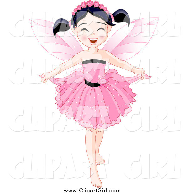 Clip Art of a Black Haired Fairy Girl Holding Her Dress