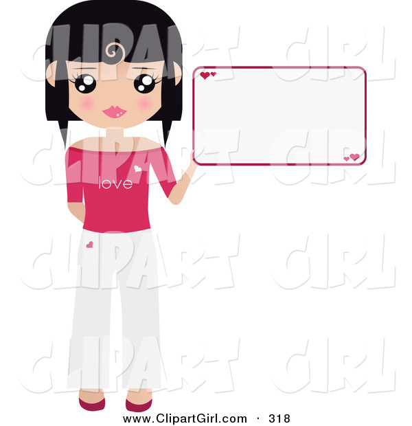 Clip Art of a Black Haired Girl Dressed in White and Pink, Holding up a Blank Sign with Hearts on It