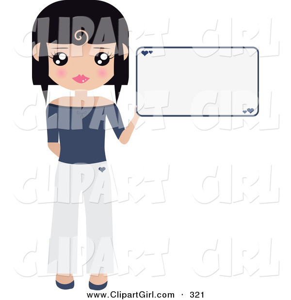 Clip Art of a Black Haired White Woman Dressed in White and Blue, Holding up a Blank Sign with Small Hearts on It