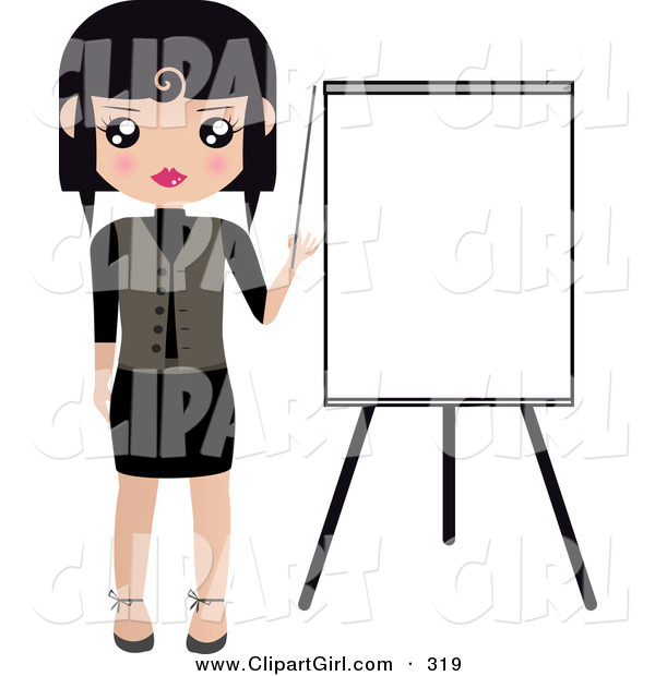 Clip Art of a Black Haired White Woman Pointing to a Blank Easel Board During a Presentation