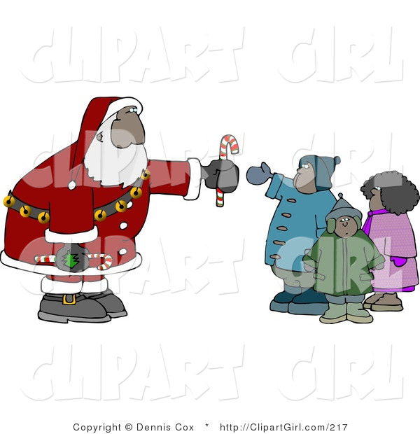 Clip Art of a Black Santa Claus Handing out Candy Canes to a Group of Kids