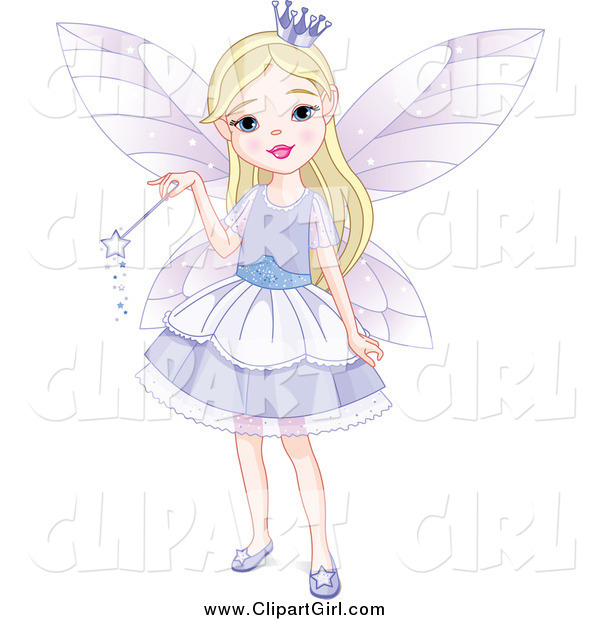 Clip Art of a Blond Fairy Princess Girl in a Purple Dress