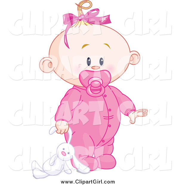 Clip Art of a Blond White Baby Girl Dragging a Stuffed Bunny