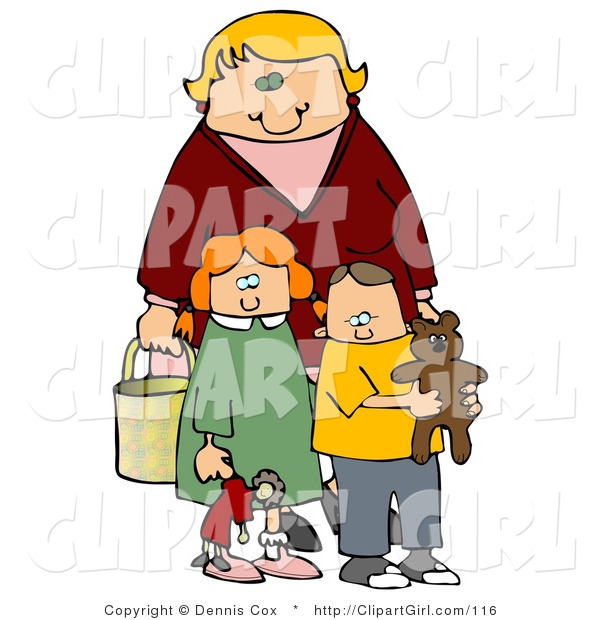 Clip Art of a Blond Woman, a Mom, Standing Behind Her Two Children, a Red Haired Girl in a Green Dress Who Is Carrying Her Doll, and a Boy, Her Son, Who Is Wearing a Yellow Shirt and Carrying His Teddy Bear