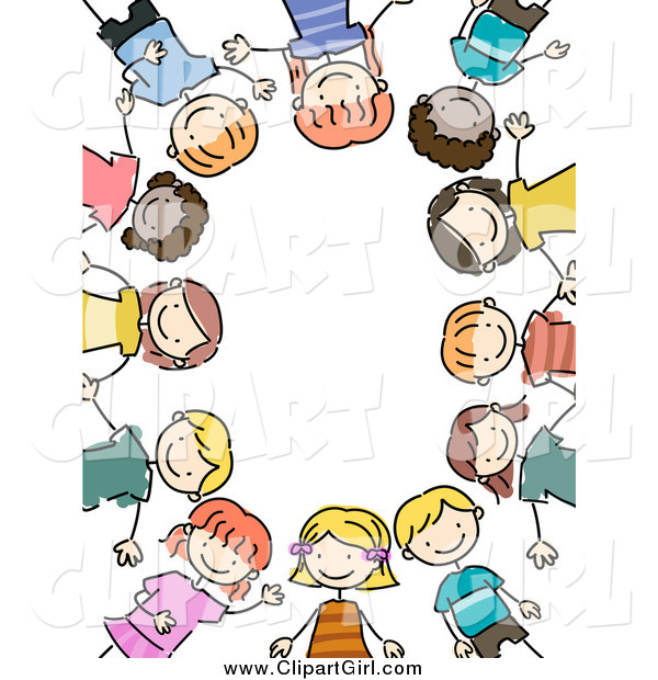 Clip Art of a Border of Stick Kids