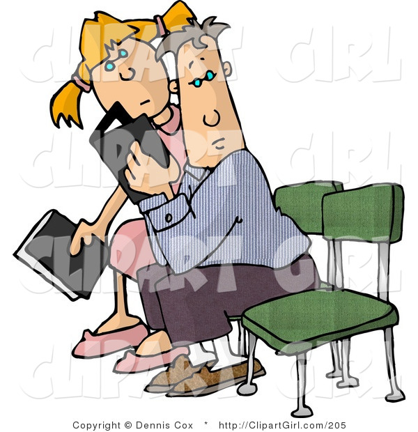 Clip Art of a Boy and a Girl Reading Magazines While Sitting in a Waiting Room