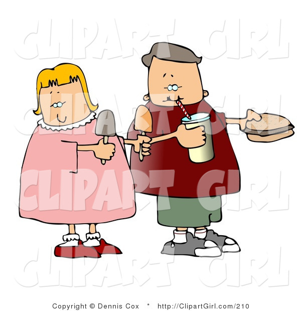 Clip Art of a Boy and Girl Eating Junk Food Together