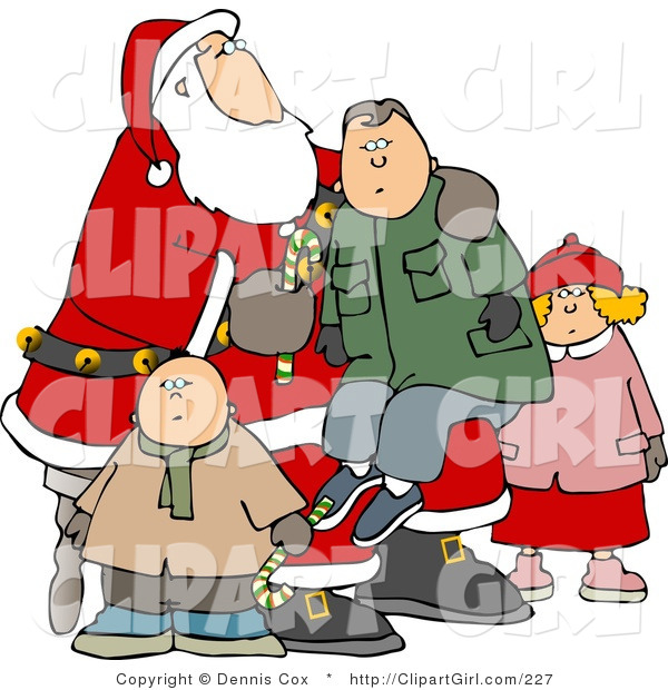 Clip Art of a Boy Sitting on Santa's Lap, His Siblings Nearby