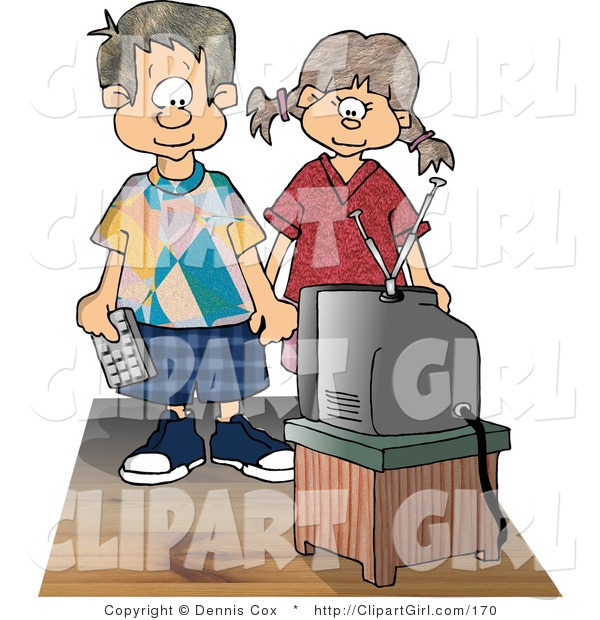Clip Art of a Brother and Sister Standing and Watching Tv Together While Holding Hands