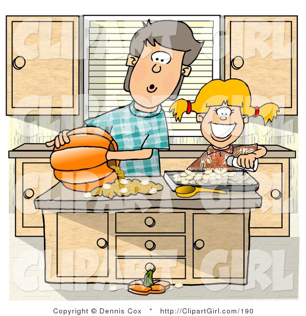 Clip Art of a Brother and Younger Sister Carving a Pumpkin in the Kitchen - Halloween