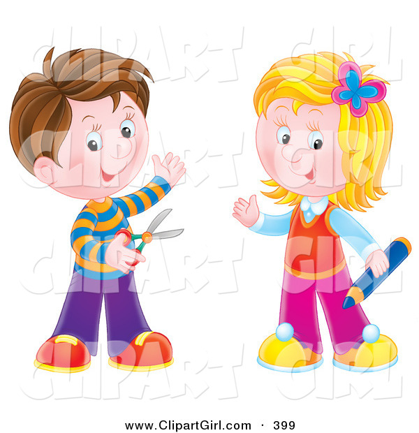 Clip Art of a Brunette Boy Holding Scissors, Standing with a Blond Girl Holding a Colored Pencil, Ready for School