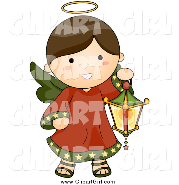 Clip Art of a Brunette Christmas Angel with a Lantern