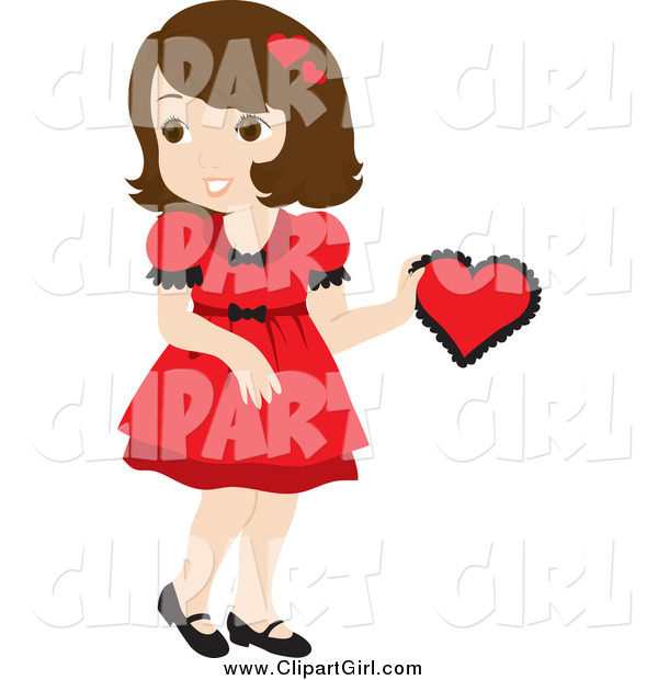 Clip Art of a Brunette Girl in a Red Dress, Holding a Red Valentine