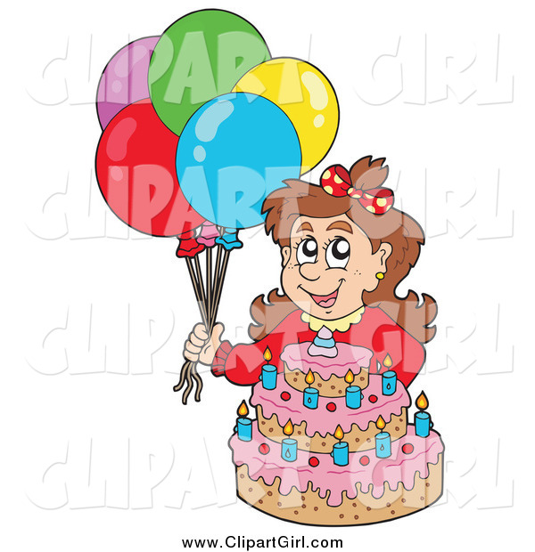 Clip Art of a Brunette White Birthday Girl with Balloons and a Cake