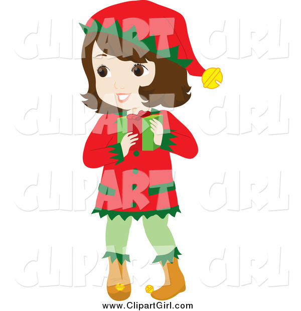 Clip Art of a Brunette White Girl in a Christmas Elf Costume, Carrying a Gift