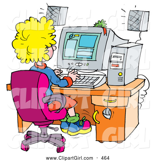 Clip Art of a Busy School Girl Using a Computer in a School Lab
