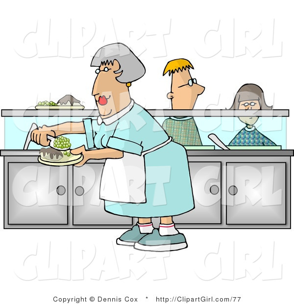 Clip Art of a Cafeteria Lady Preparing Plates of Food for School Children Waiting in Line at the Cafeteria