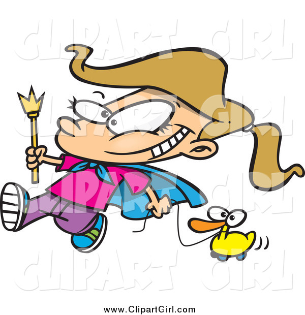 Clip Art of a Cartoon Blond White Parade Girl Pulling a Duck
