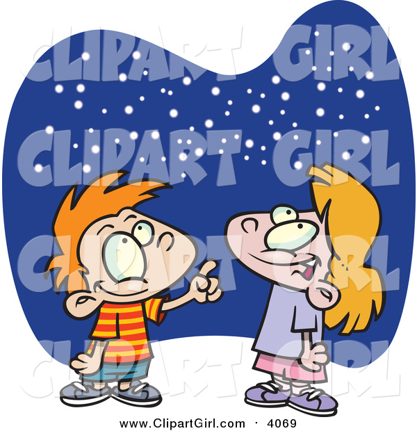 Clip Art of a Cartoon Caucasian Boy and Girl Gazing at the Stars