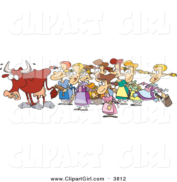 Clip Art of a Cartoon Cow with Eight Milking Maids Christmas Scene