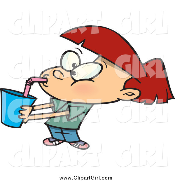 Clip Art of a Cartoon Red Haired White Girl Gulping Soda
