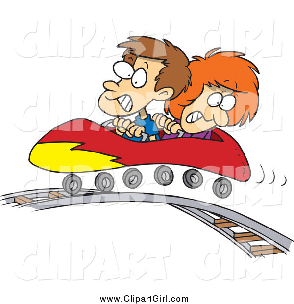Clip Art of a Cartoon White Boy and Girl on a Roller Coaster