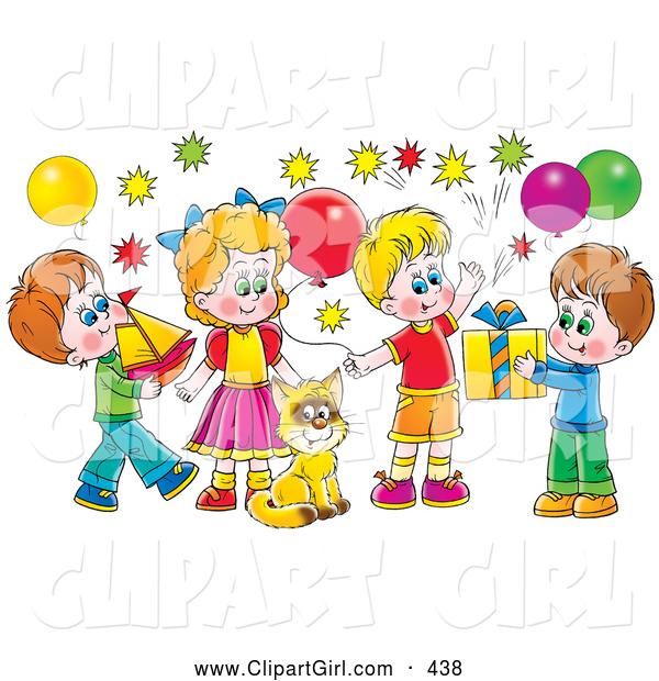Clip Art of a Cat Surrounded by Children and Balloons at a Colorful Birthday Party