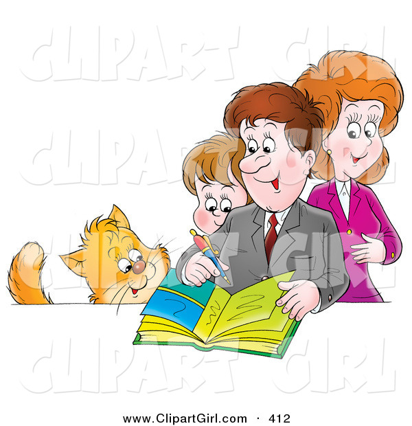 Clip Art of a Cat Watching an Average Family of a Mother, Father and Son Writing in a Family Photo Album