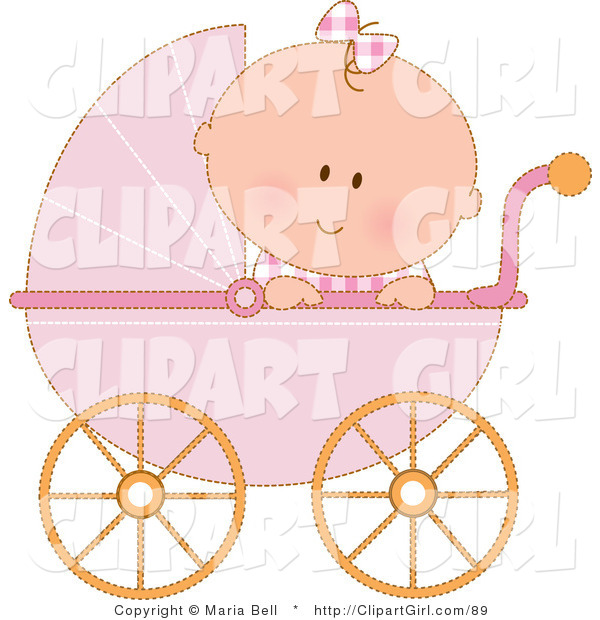 Clip Art of a Caucasian Baby Girl in a Pink Stroller Carriage, Looking over the Side on White