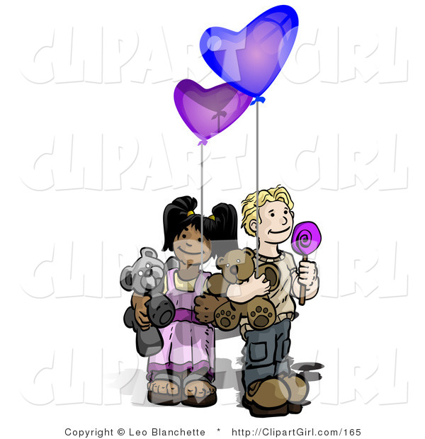Clip Art of a Caucasian Boy Holding a Lolipop Sucker, Blue Balloon and a Teddy Bear Wile Standing by an African American Girl Holding a Purple Balloon and Teddy Bear