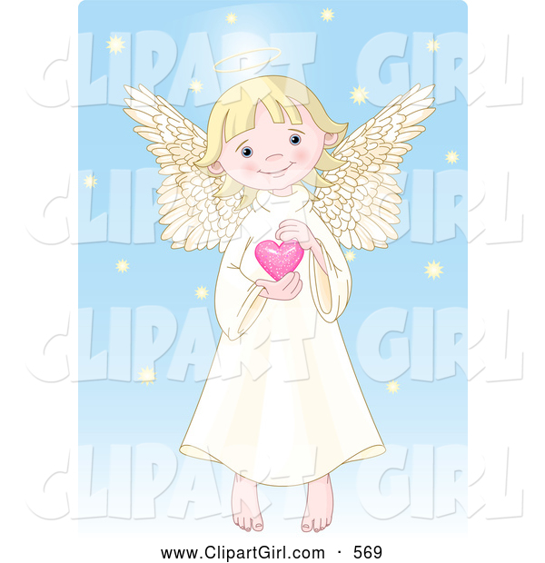 Clip Art of a Caucasian Cute, Innocent, Blond Femal Angel with a Halo, Holding a Pink Heart