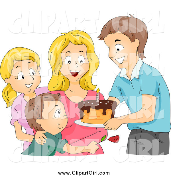 Clip Art of a Caucasian Family Giving a Birthday Cake to a Woman