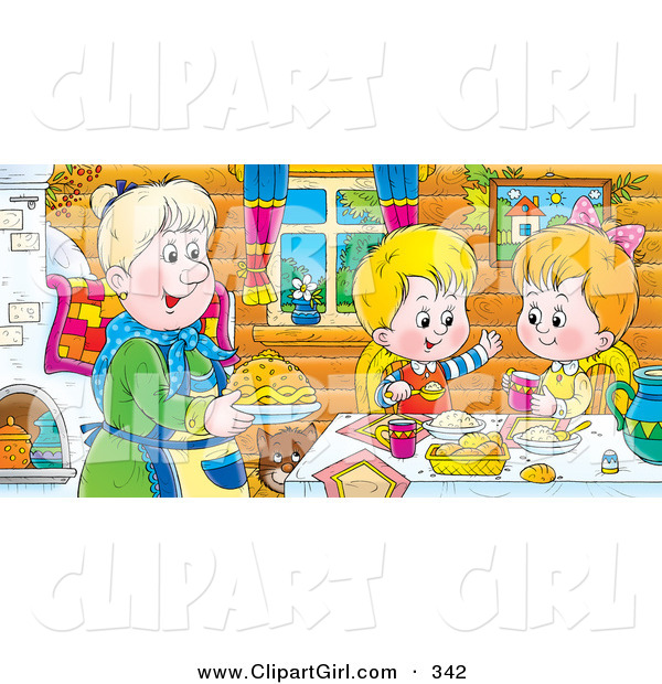 Clip Art of a Cheerful Boy and Girl at a Table, Eating Fresh Food Made by Grandma