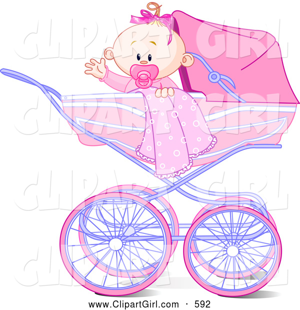Clip Art of a Cheerful Waving Baby Girl with a Blanket and Pacifier, in a Carriage