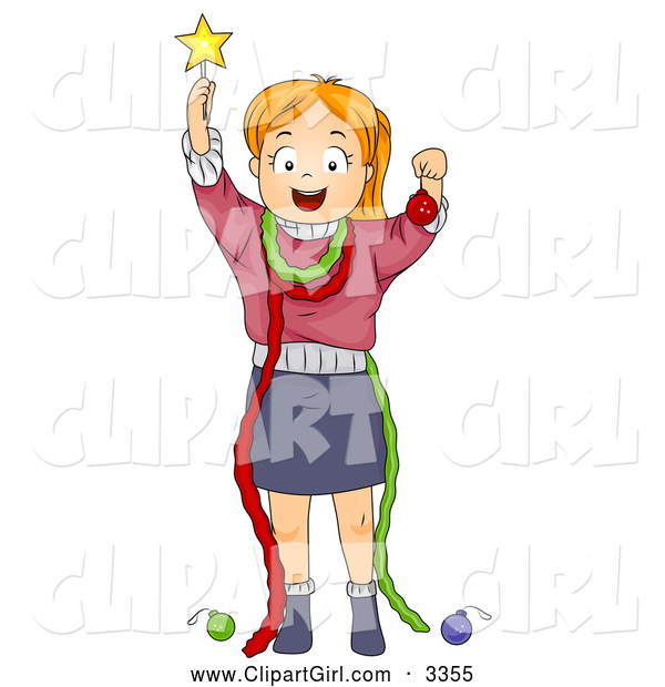 Clip Art of a Christmas Girl Pretending to Be a Christmas Tree