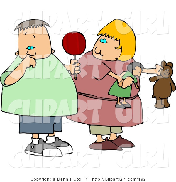 Clip Art of a Chubby Girl Watching Nasty Boy Pick His Nose with His Pointer Finger