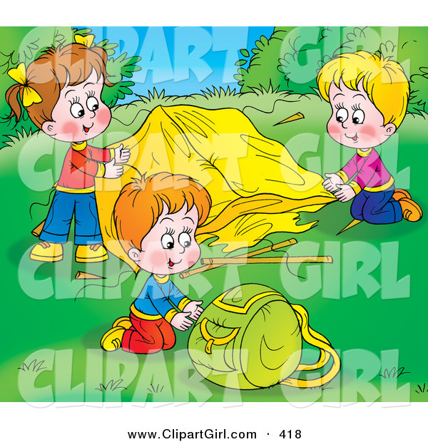 Clip Art of a Colorful Picture of Children Setting up Their Tent at a Campground
