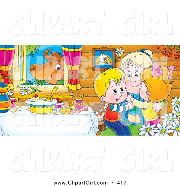Clip Art of a Colorful Picture of Happy Grandchildren Hugging Grandma at a Table While a Cow Chews on Grass in the Window