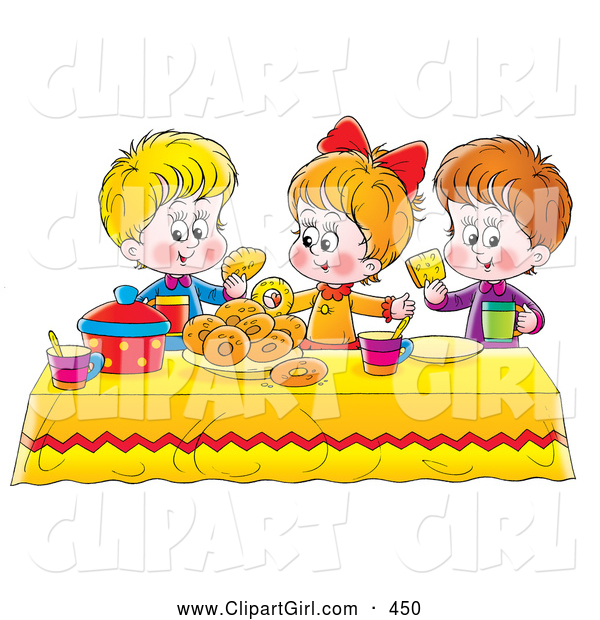 Clip Art of a Colorful Setting with a Girl and Two Boys Eating Bread and Bagels at a Picnic Table