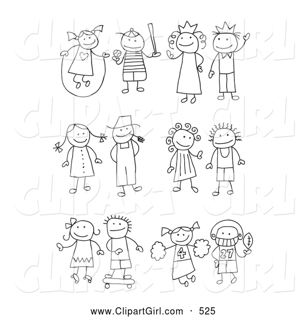 Clip Art of a Coloring Page of a Stick Girl Juming Rope, Boy Playing Baseball, King, Queen, Farmer and Wife, Skating Girl, Skateboarding Boy, Cheerleader and Football Player