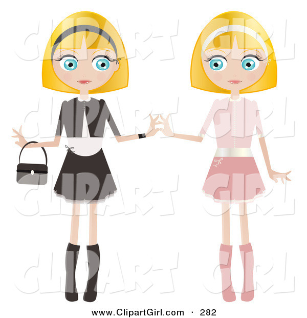 Clip Art of a Couple of Blond Haired, Blue Eyed Caucasian Women, Twins, Dressed in Pink and Black and White, Standing Side by Side and Touching Hands
