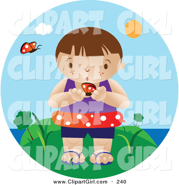 Clip Art of a Curious Little White Boy Wearing an Inner Tube and Holding a Butterfly While Standing near the Beach on a Hot Summer Day