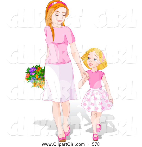 Clip Art of a Cute and Happy Young Daughter Holding Hands and Walking with Her Mom on Mother