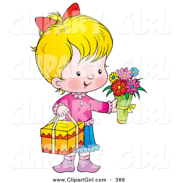 Clip Art of a Cute and Sweet Little Girl Carrying Flowers and a Gift on Mothers Day