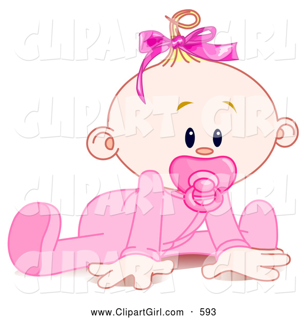 Clip Art of a Cute Baby Girl in a Sleeper, Sucking in a Pacifier and Trying to Crawl