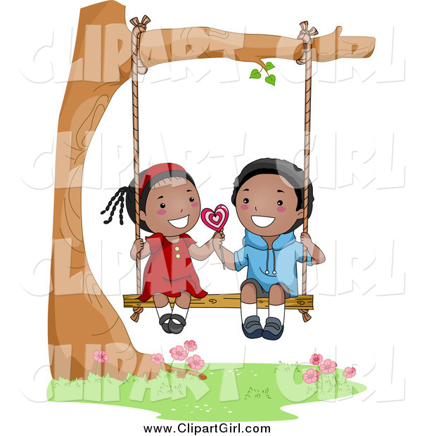 Clip Art of a Cute Black Valentine Kid Couple Sharing a Lolipop on a Swing