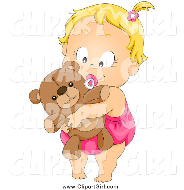 Clip Art of a Cute Blond Baby Girl Sucking on a Pacifier and Hugging Her Teddy Bear