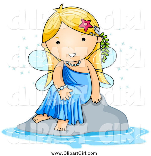Clip Art of a Cute Blond White Fairy Sitting by Water