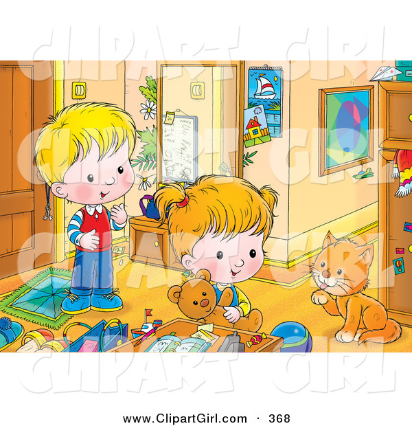 Clip Art of a Cute Boy and Girl Playing in a Room, Watching a Cat Groom Its Paw