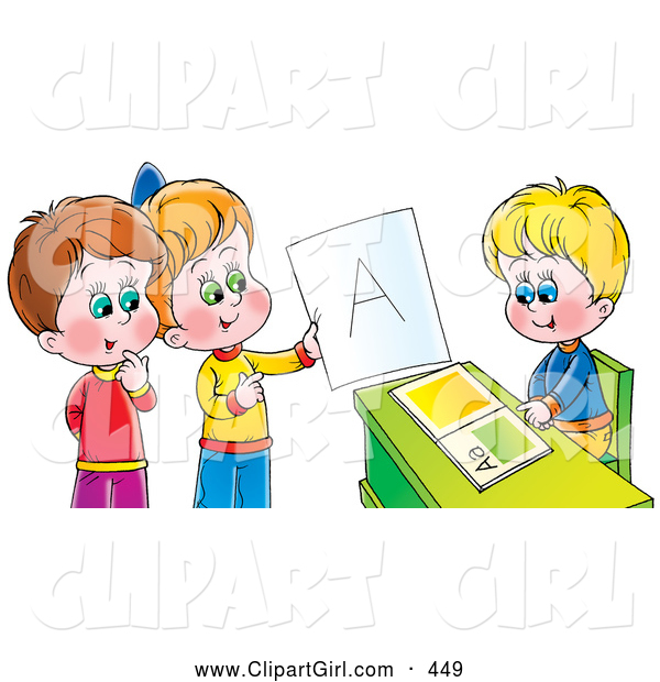 Clip Art of a Cute Boy Sitting at a Desk While Other Children Admire an a on a Report Card
